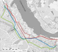 three different bike routes from the northwest to the city center were considered